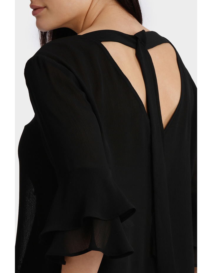Frill Sleeve Open Back Top image 4