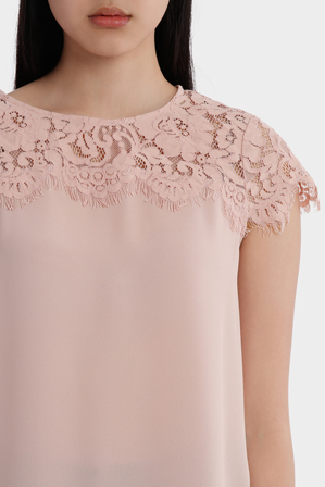 Tokito - Lace Yoke Short Sleeve Top