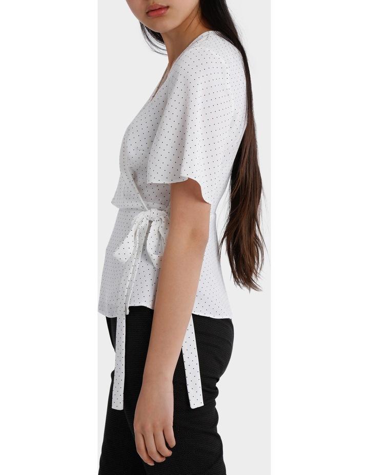 wrap drape top - white/navy spot image 2