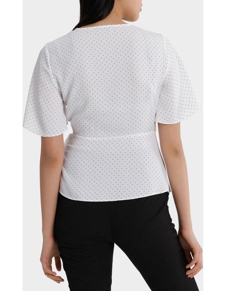wrap drape top - white/navy spot image 3