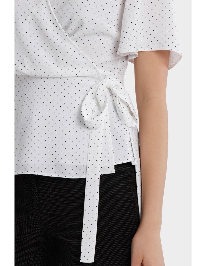 wrap drape top - white/navy spot image 4