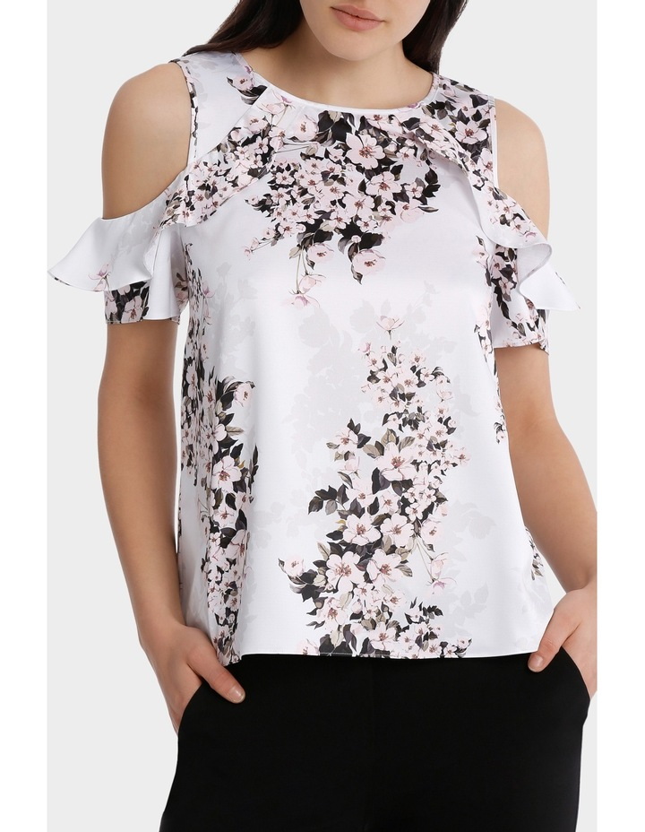 s/s cold shoulder with ruffle - blossom print image 1
