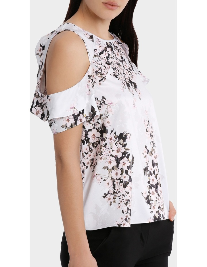 s/s cold shoulder with ruffle - blossom print image 2