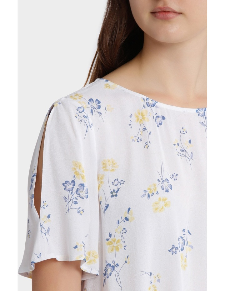 split sleeve print top - poppy print image 4