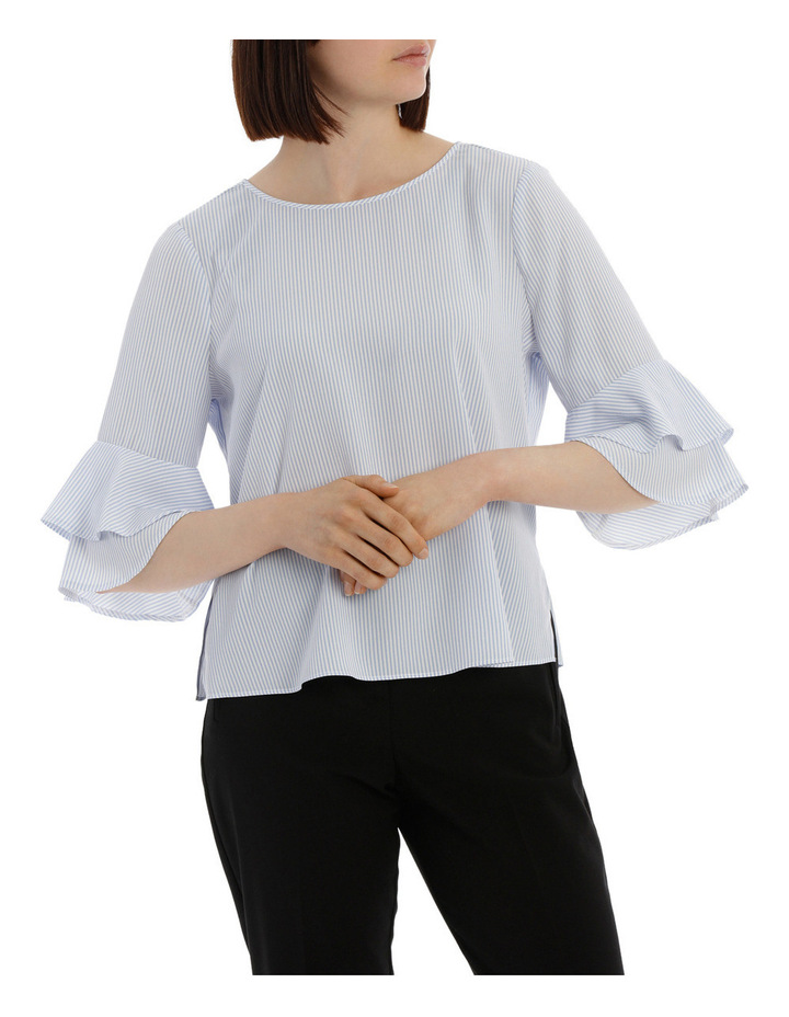 frill sleeve open back top - ticking stripe image 1