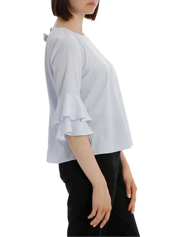 frill sleeve open back top - ticking stripe image 2