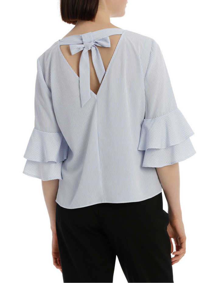 frill sleeve open back top - ticking stripe image 3