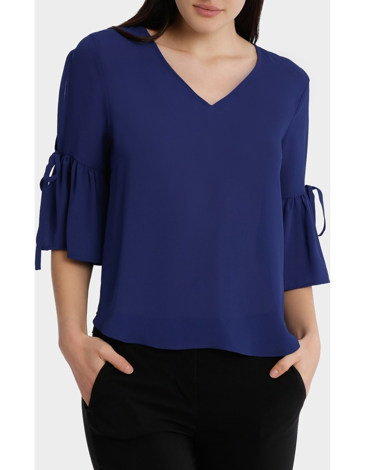 frill sleeve cold shoulder top - bright blue image 1