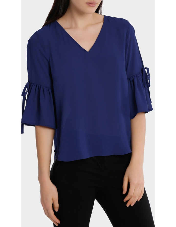 frill sleeve cold shoulder top - bright blue image 2