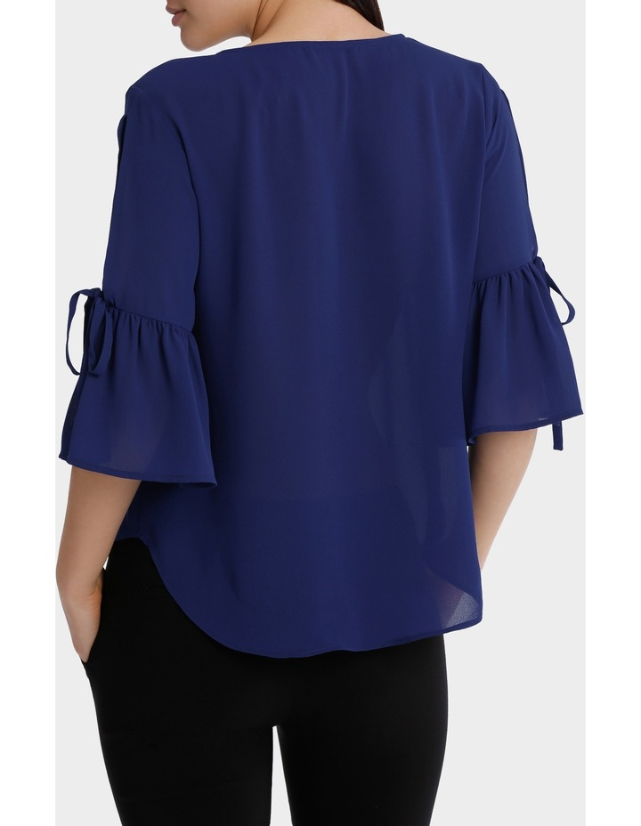 frill sleeve cold shoulder top - bright blue image 3