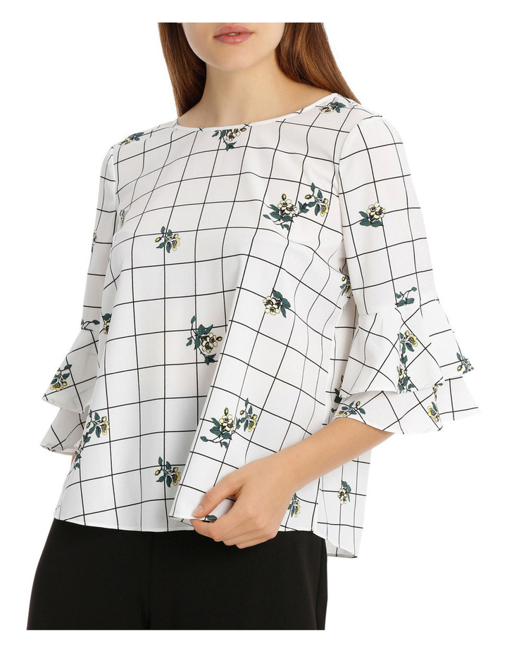 Frill Sleeve Open Back Top Floral Grid image 1