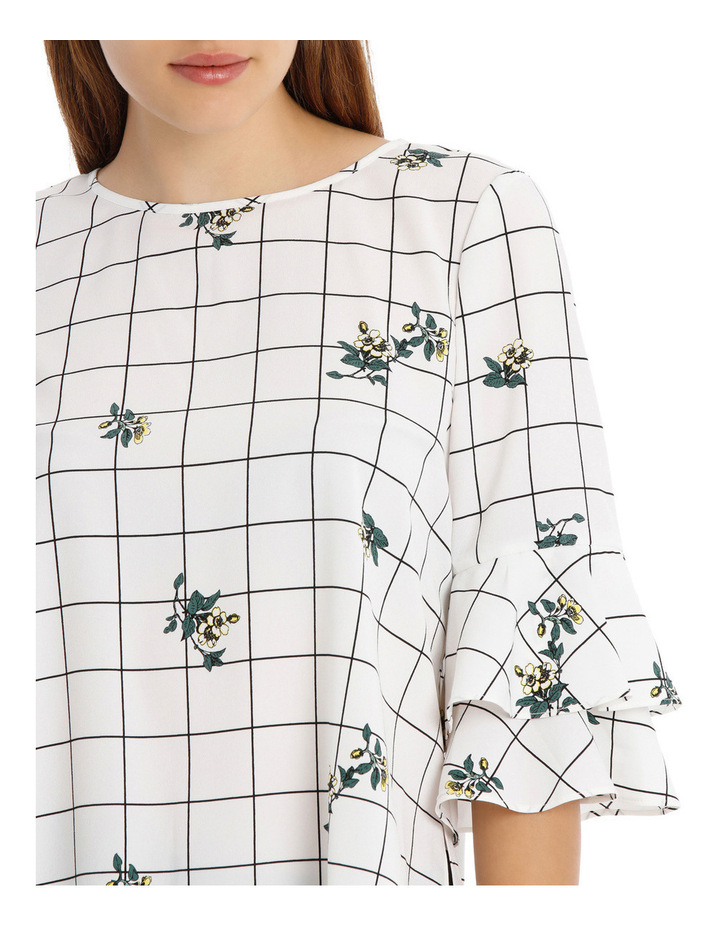 Frill Sleeve Open Back Top Floral Grid image 4