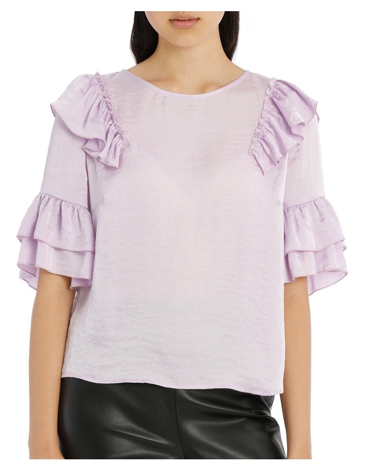 Frilly Print Top - Bright Lilac image 1