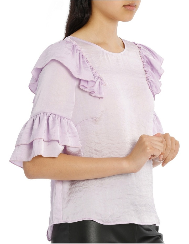 Frilly Print Top - Bright Lilac image 2