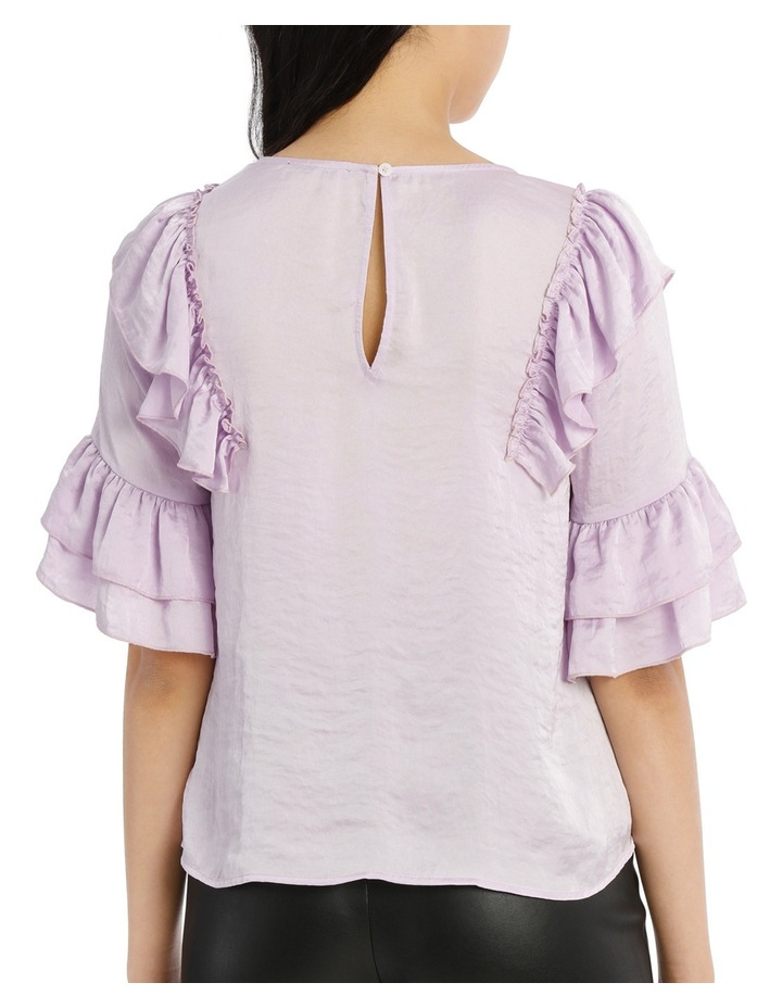 Frilly Print Top - Bright Lilac image 3