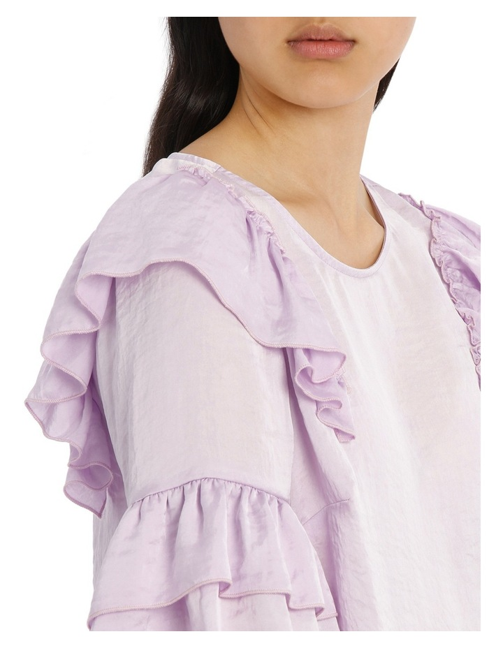 Frilly Print Top - Bright Lilac image 4