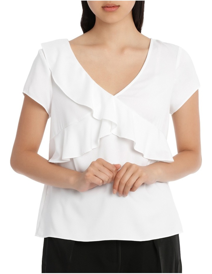 Frill Front Open Back Top - White image 1
