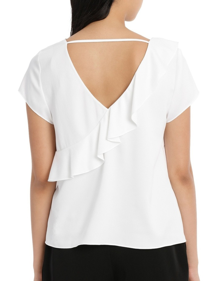 Frill Front Open Back Top - White image 3