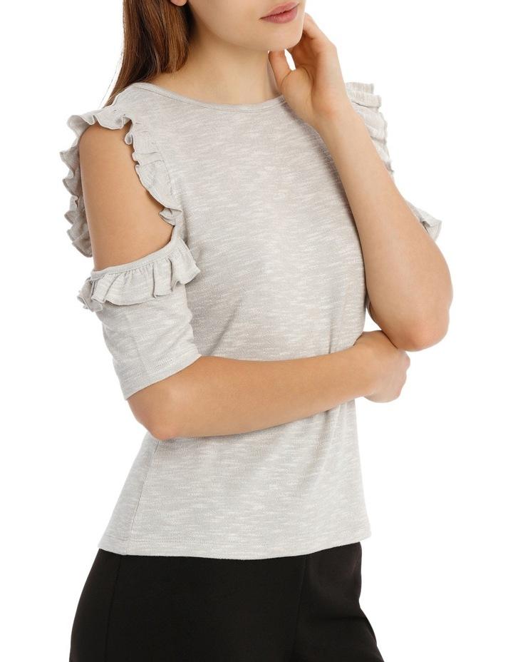 Cold Shoulder Frill Top - Grey Marle image 2