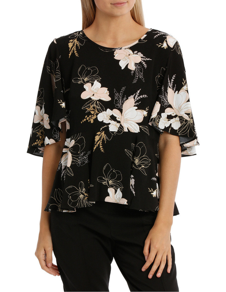 Wing Sleeve Print Top - Golden Floral image 1