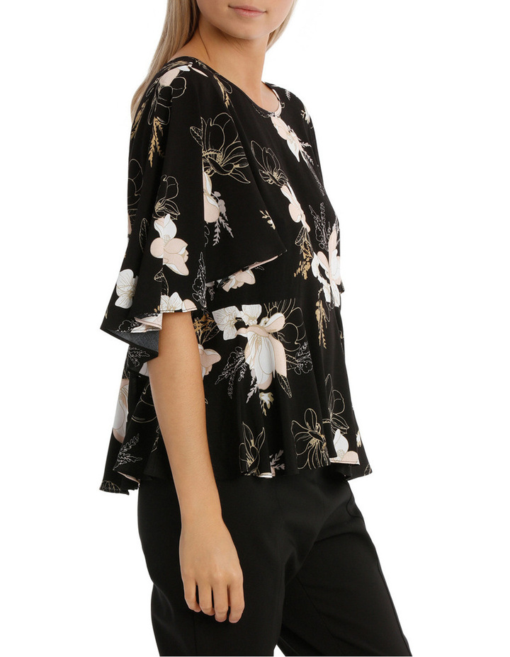 Wing Sleeve Print Top - Golden Floral image 2