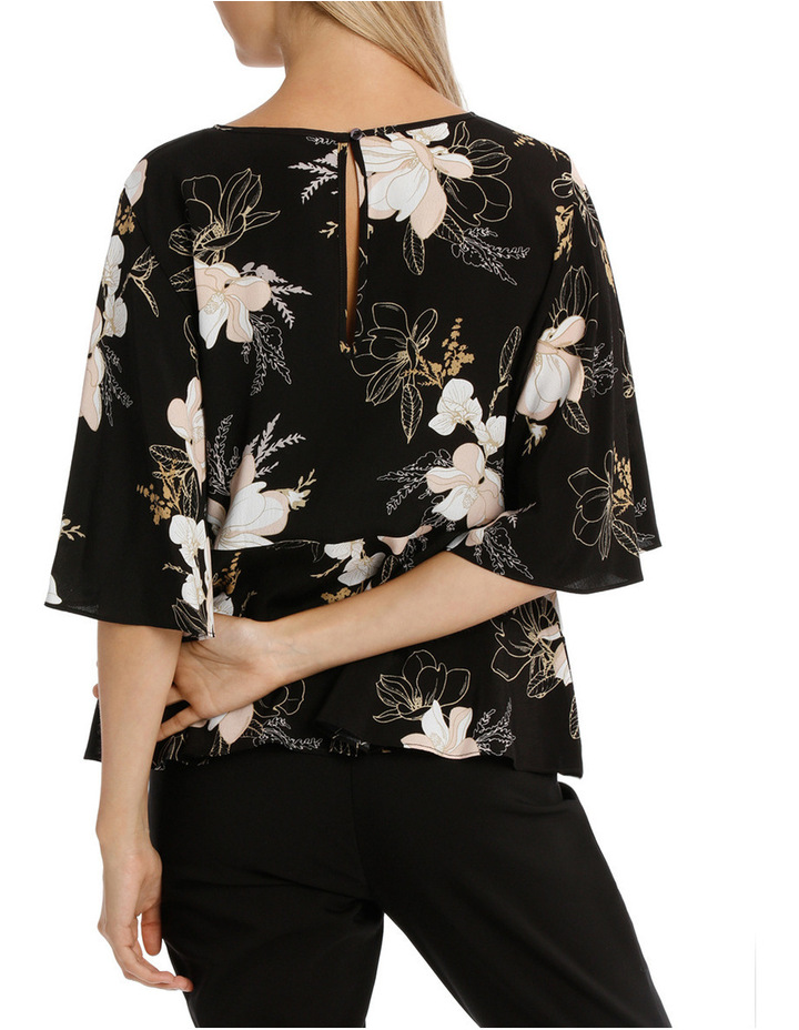 Wing Sleeve Print Top - Golden Floral image 3