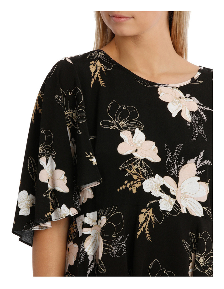 Wing Sleeve Print Top - Golden Floral image 4