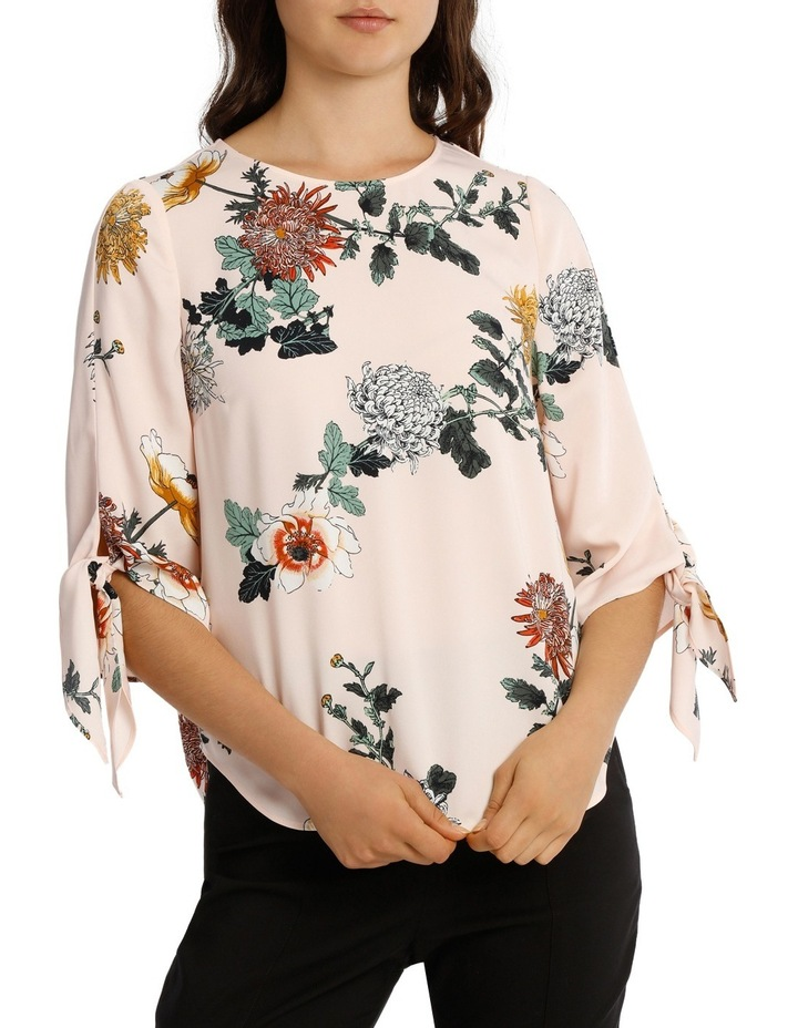 Tie Flute Sleeve Imperial Floral Blouse image 1