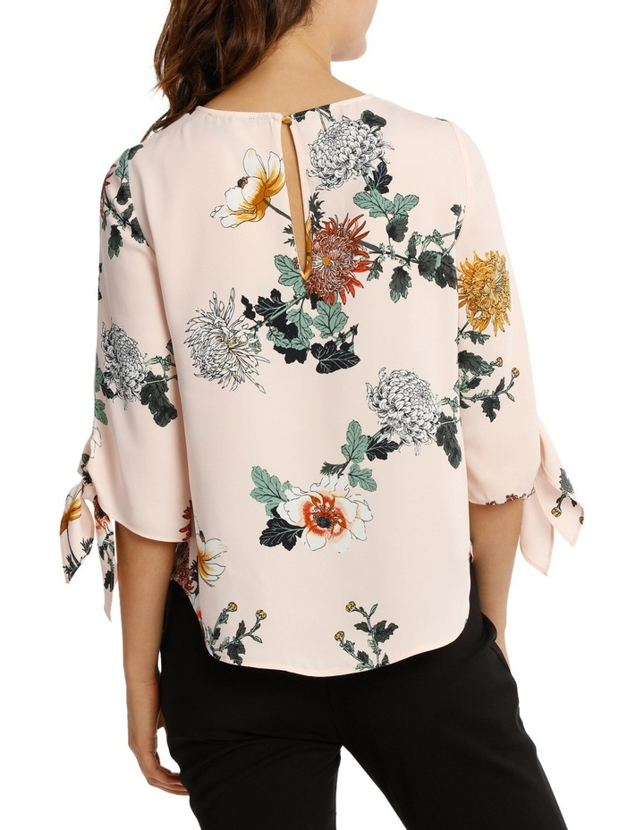 Tie Flute Sleeve Imperial Floral Blouse image 3