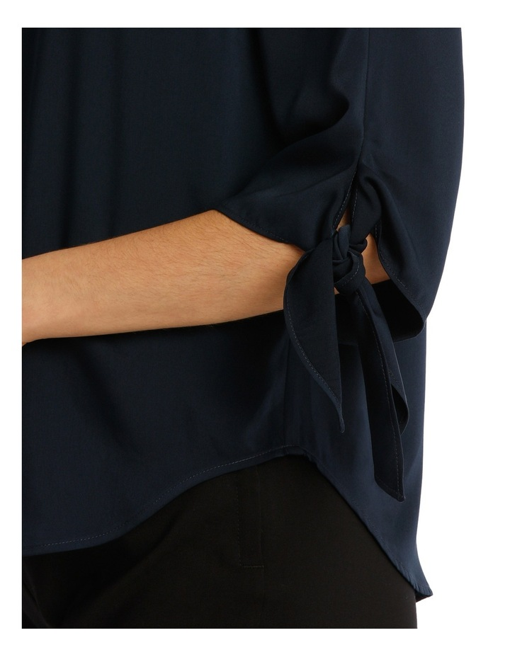 Tie Flute Sleeve Blouse - Navy image 4