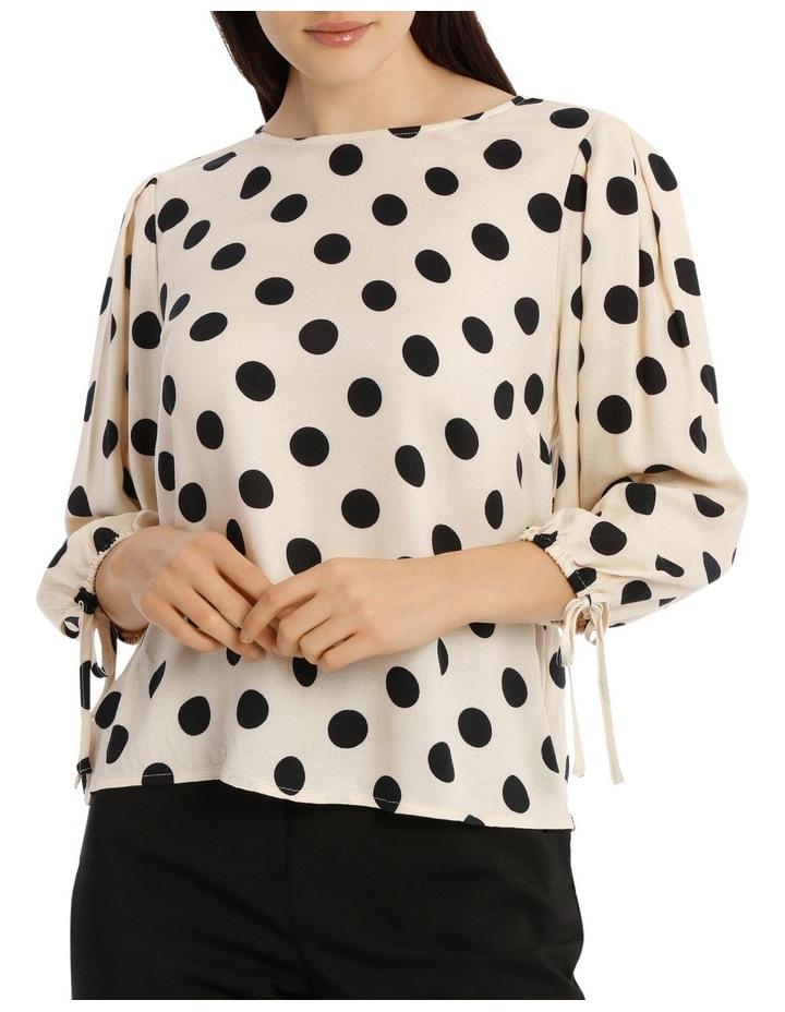 Tie Sleeve Shell Top - Polka Dot image 1