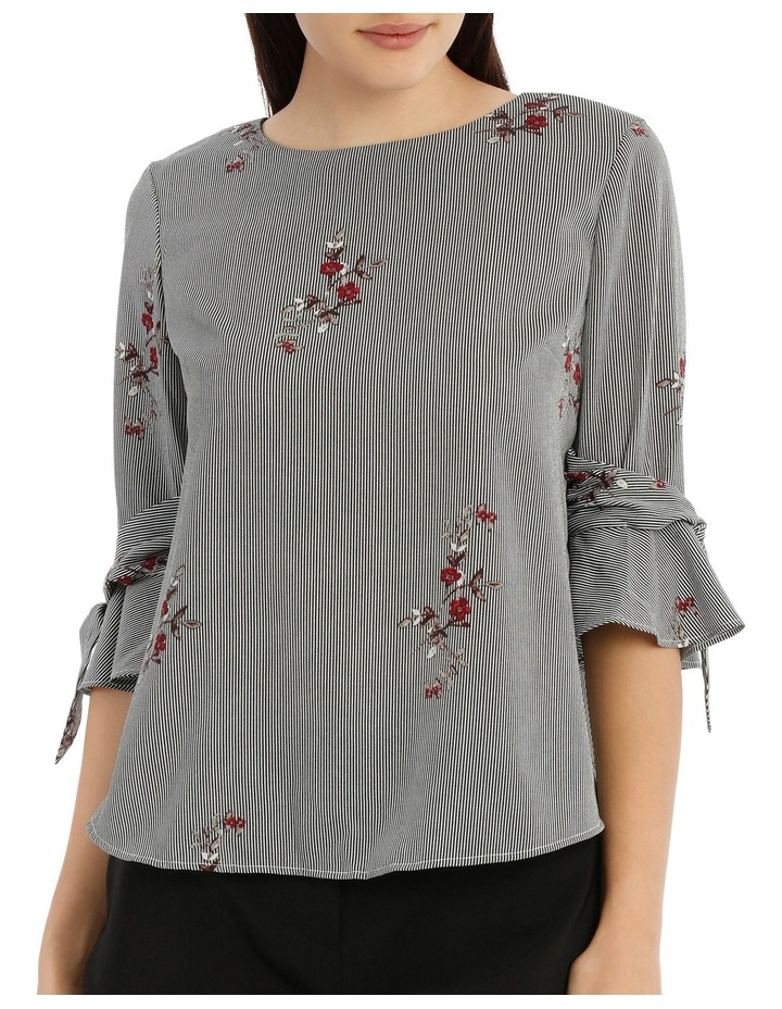 Tie Sleeve Top - Scattered Posey Stripe image 1