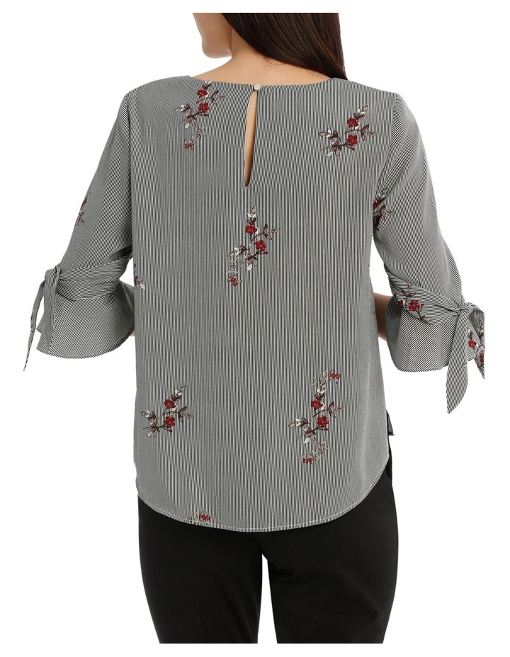 Tie Sleeve Top - Scattered Posey Stripe image 3