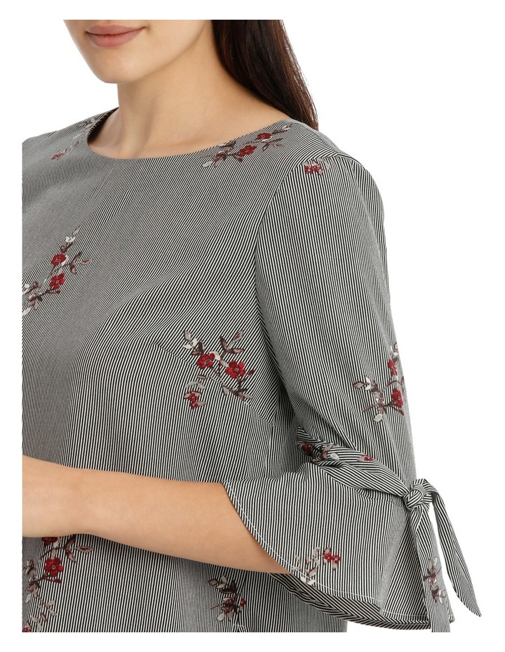 Tie Sleeve Top - Scattered Posey Stripe image 4