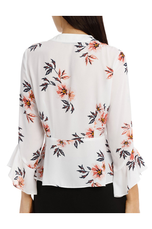 Tokito - Pussy Bow Blouse - Desert Flower Floral