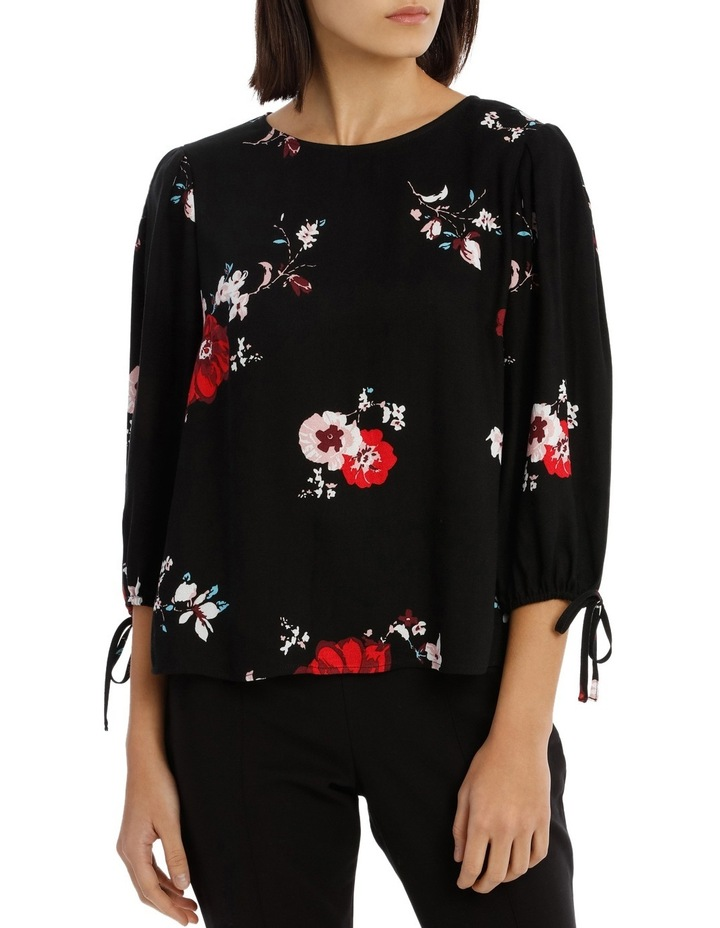 Tie Sleeve Shell Top - Exploded Poppy Print image 1