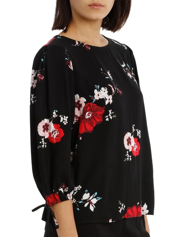 Tie Sleeve Shell Top - Exploded Poppy Print image 2