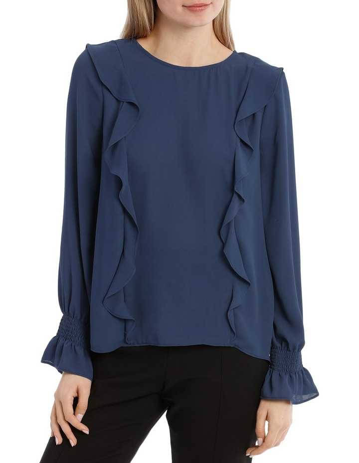 Frill Front Top - Petrol Blue image 1