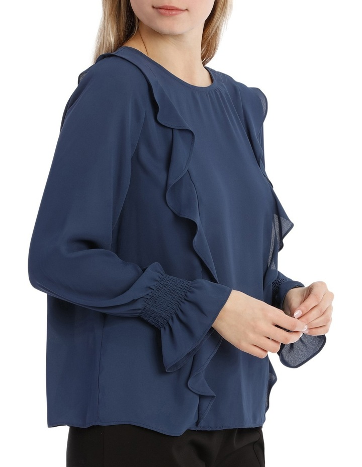 Frill Front Top - Petrol Blue image 2