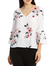 Tokito - Frill Sleeve V-Neck Top - Large Bloom