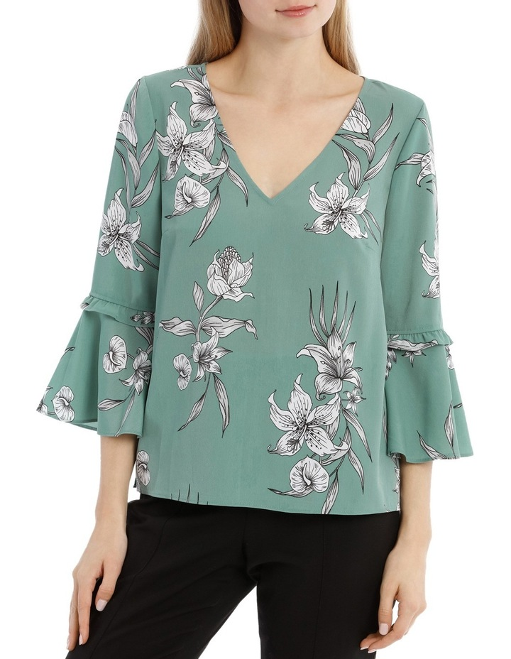 Frill Sleeve V-Neck Top - Tropical Sketch image 1