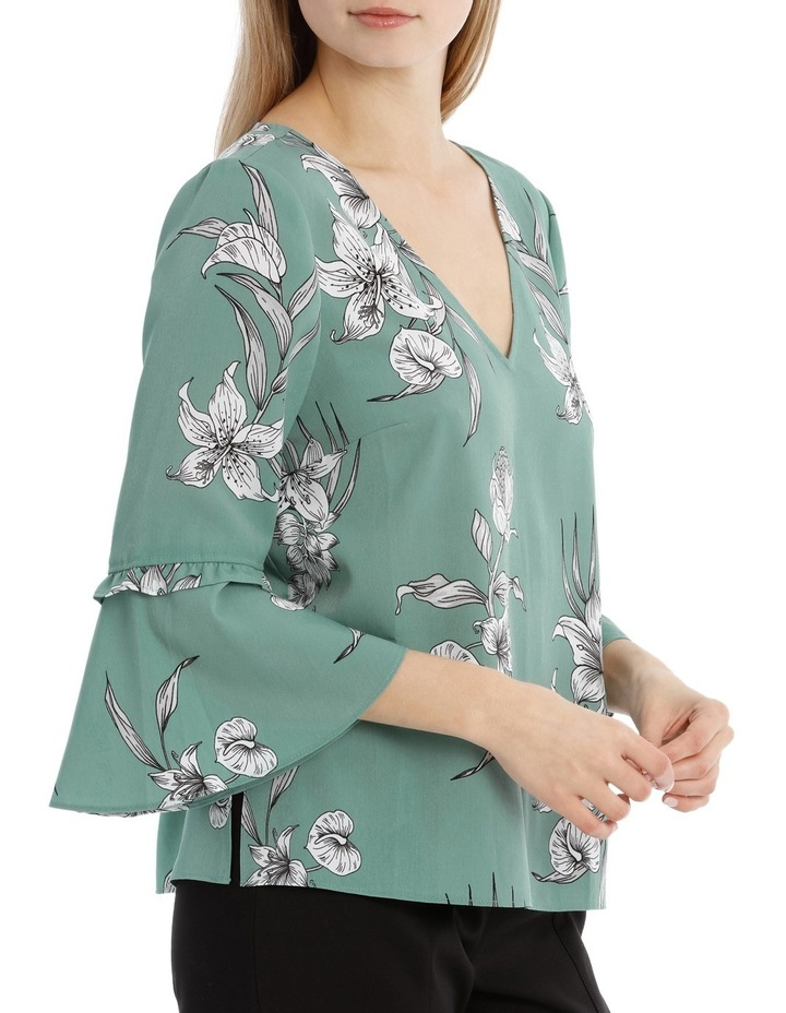 Frill Sleeve V-Neck Top - Tropical Sketch image 2