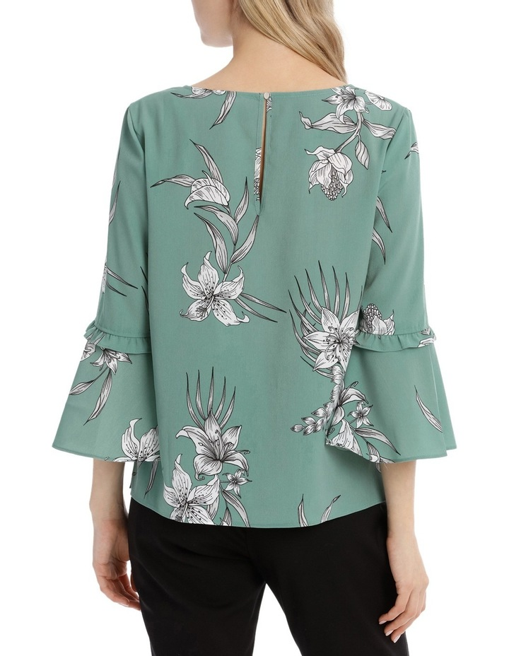Frill Sleeve V-Neck Top - Tropical Sketch image 3