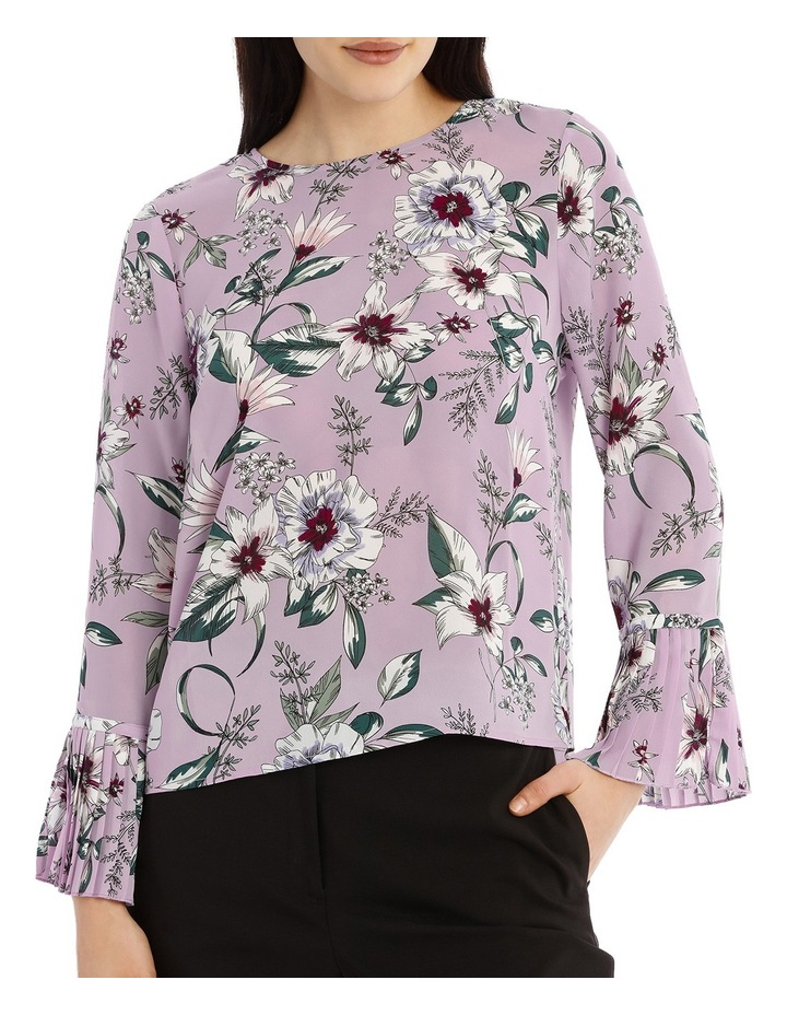Pleated Sleeve Statement Top - Tropical Floral image 1