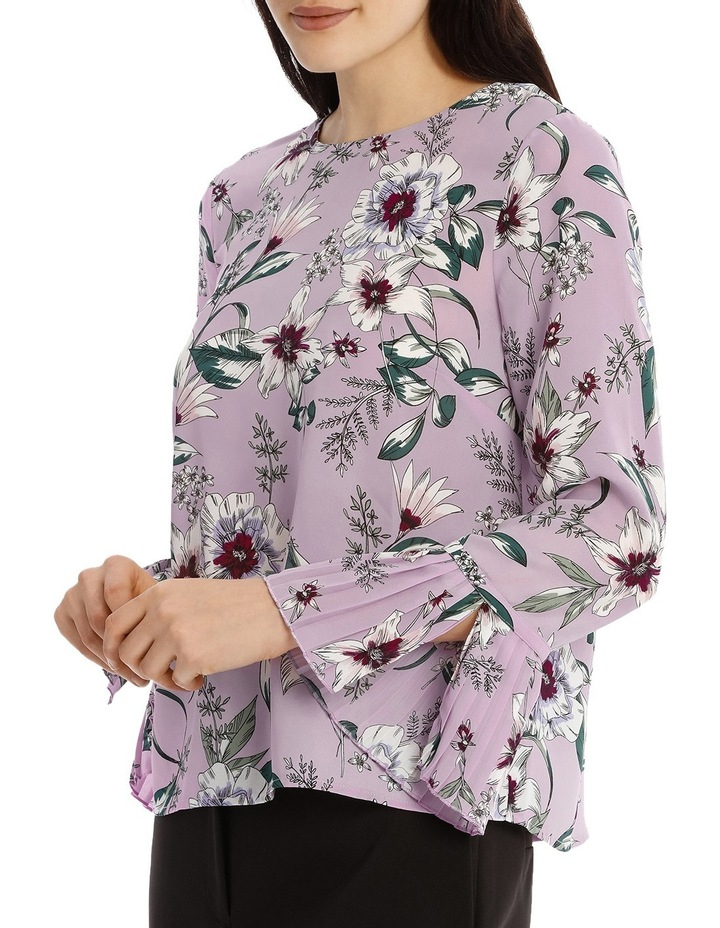 Pleated Sleeve Statement Top - Tropical Floral image 2