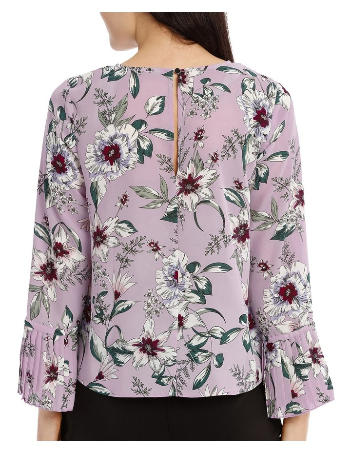 Pleated Sleeve Statement Top - Tropical Floral image 3