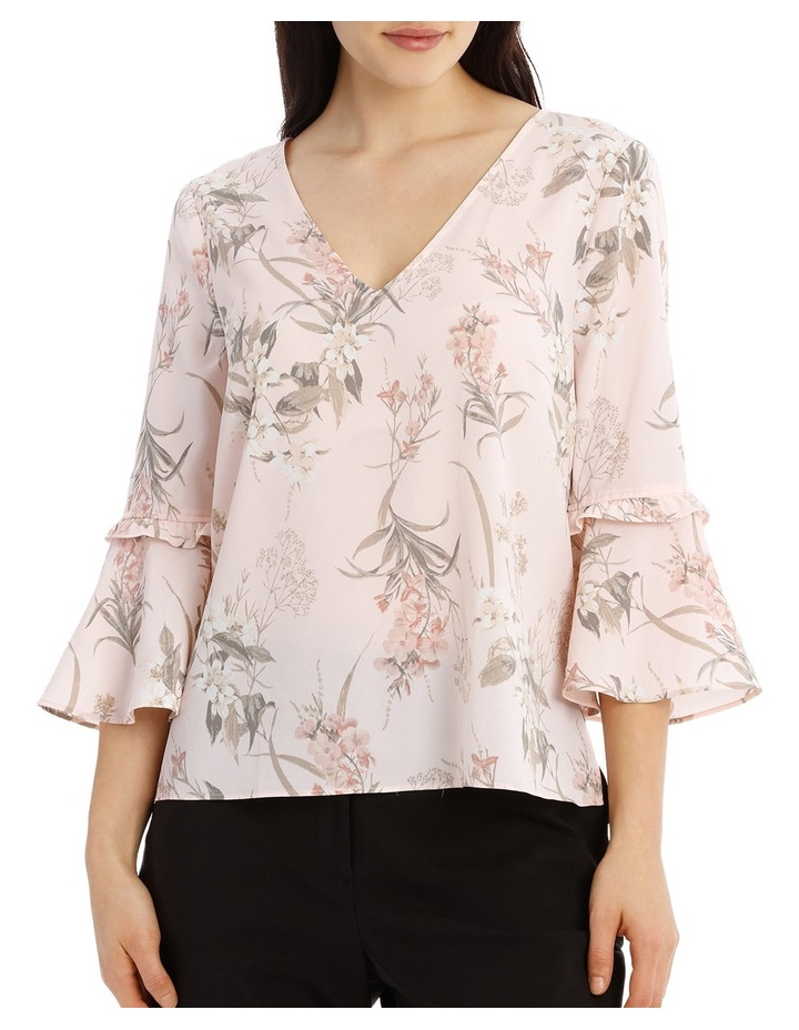 Frill Sleeve V-Neck Top - Faded Floral image 1