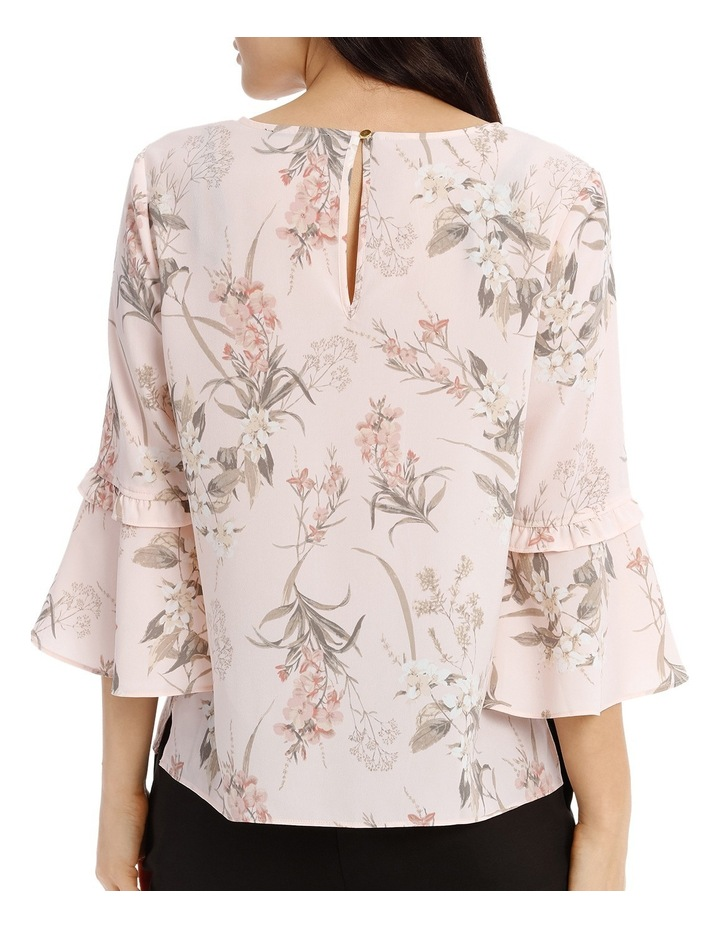 Frill Sleeve V-Neck Top - Faded Floral image 3