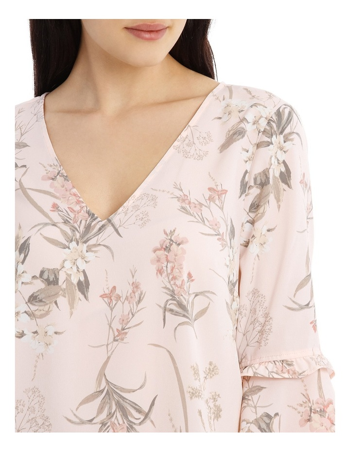 Frill Sleeve V-Neck Top - Faded Floral image 4