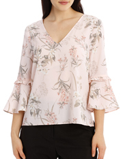 Frill Sleeve V-Neck Top - Faded Floral